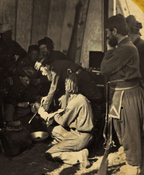 """ca. 1861-65, """"Hospital [amputation] Scene at Fortress Monroe, Va."""", George Stacy via the Library of Congress, Stereographic Cards Collection"""