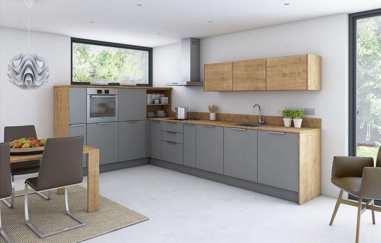 moderne-kuechen-eiche-graue-fronten-edelstahl-griffe | kitchens yo, Innenarchitektur ideen