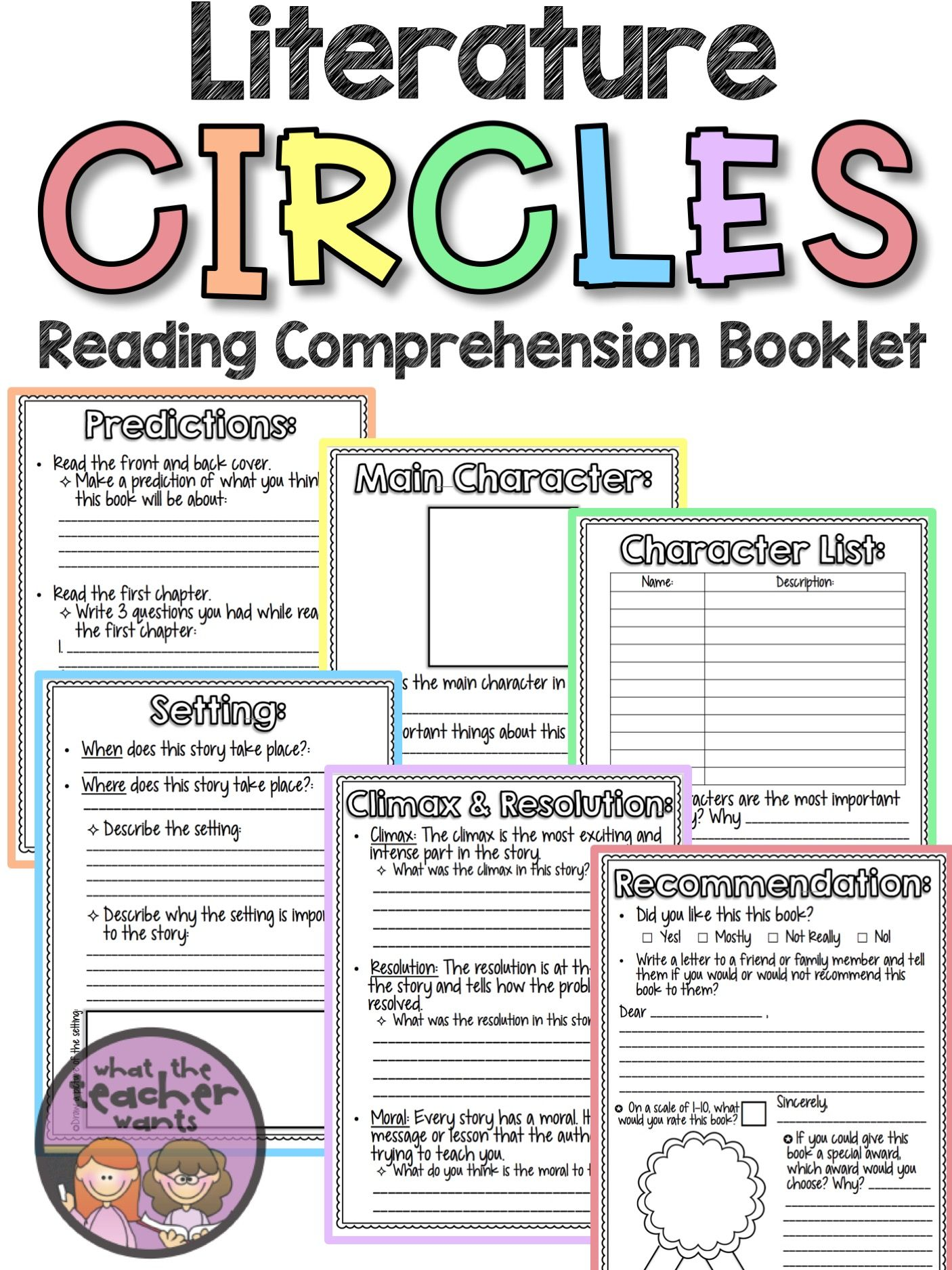 Literature Circles Reading Amp Comprehension Activity