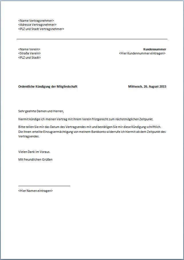 Kündigung Vorlagen Arbeitsvertrag Kostenlos Kündigung