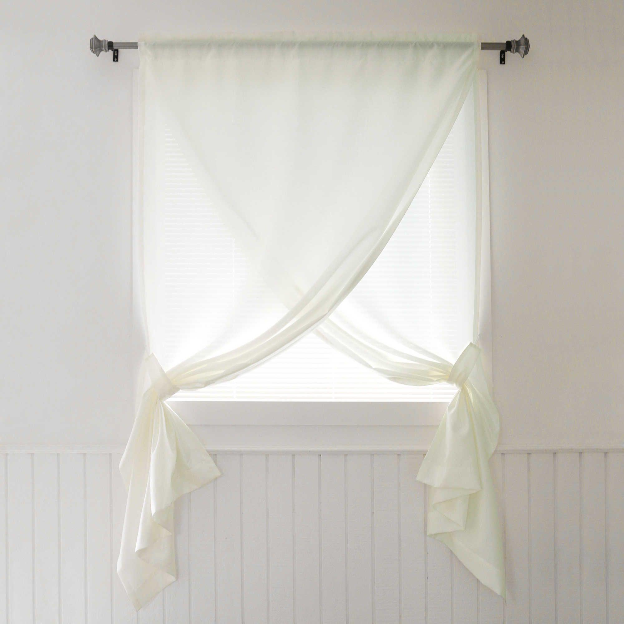 Decorinnovation faux silk inch overlapping rod pocket window