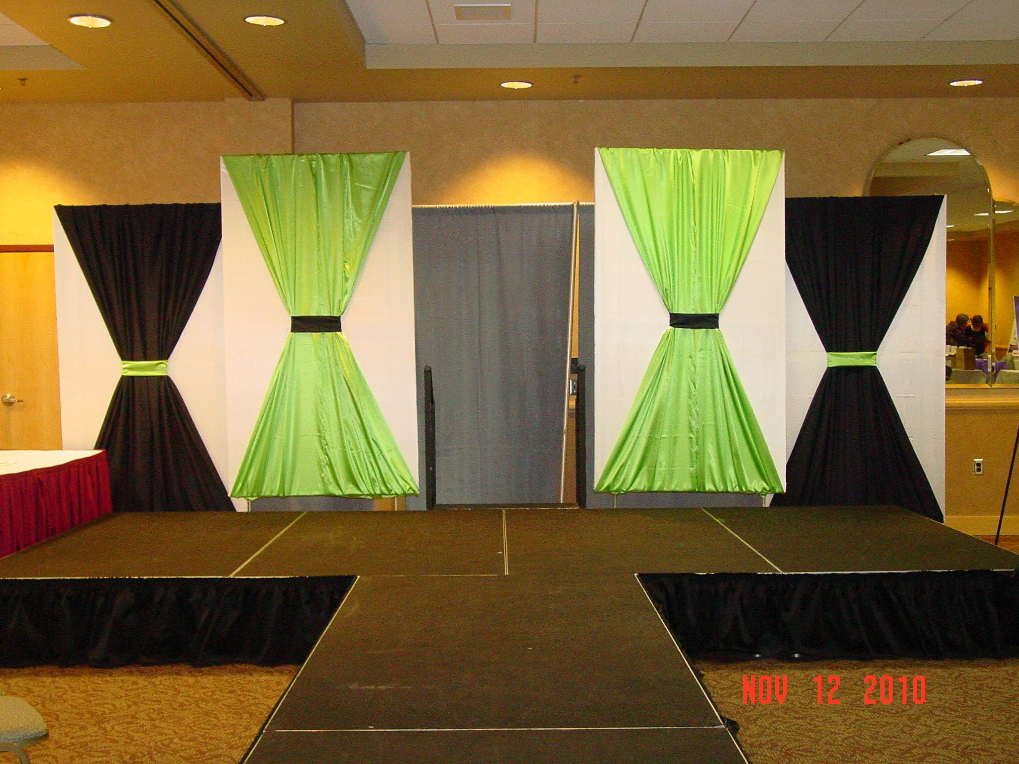 Stage decor for the women2women expo fabric covered for Backdrop decoration for church