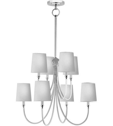 Visual Comfort Thomas OBrien Large Reed Chandelier in Antique Nickel with Natural Paper Shades TOB5010AN-NP