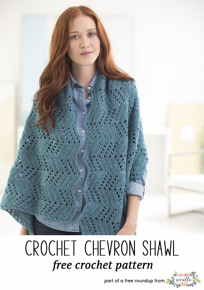 Crochet this easy chevron shawl from my stylish crochet shawls free pattern roundup!
