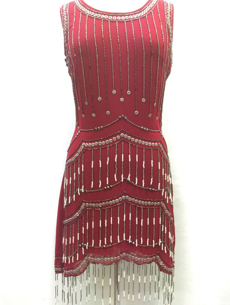 2601e8187 Red Vintage 1920s Flapper Gatsby Downton Abbey Fringe Beaded Dress ...
