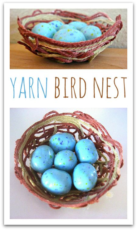 Yarn bird nest craft for kids. Awesome spring craft for kids.  ...
