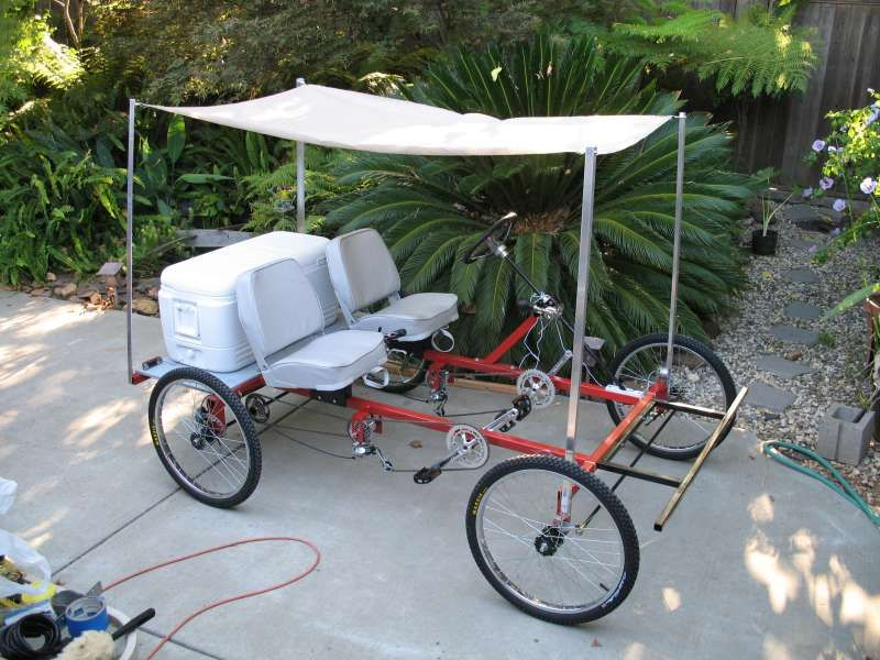 Shaking, support. build an adult pedal car
