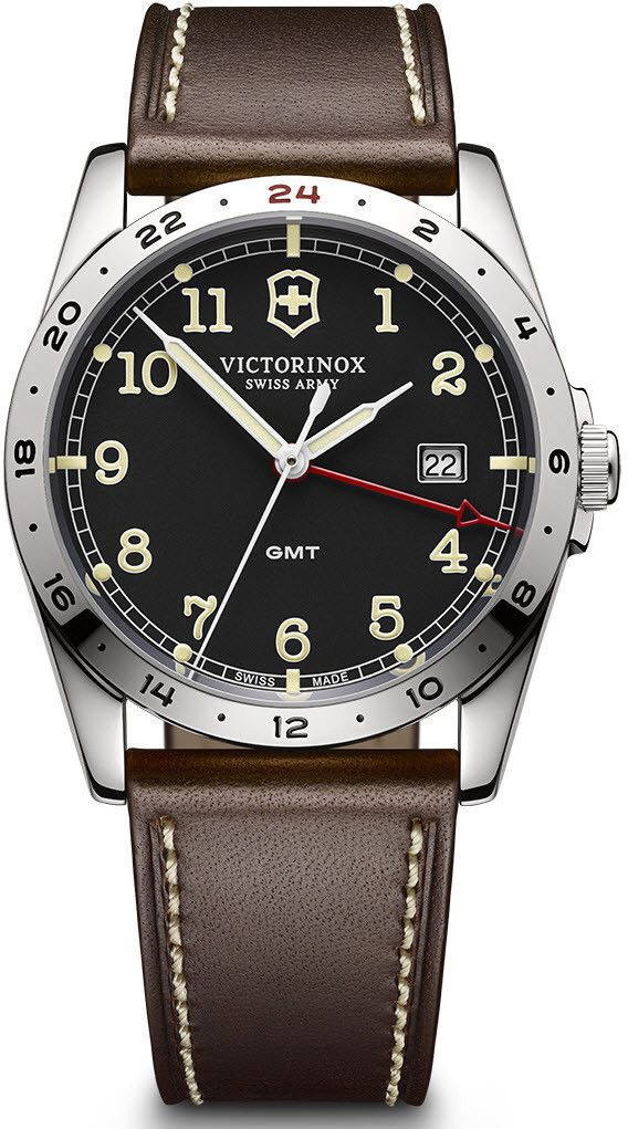 773ee33d3ab Victorinox Swiss Army Watch Infantry GMT  bezel-fixed  bracelet-strap- leather  brand-victorinox-swiss-army  case-material-steel  case-width-40mm   classic ...