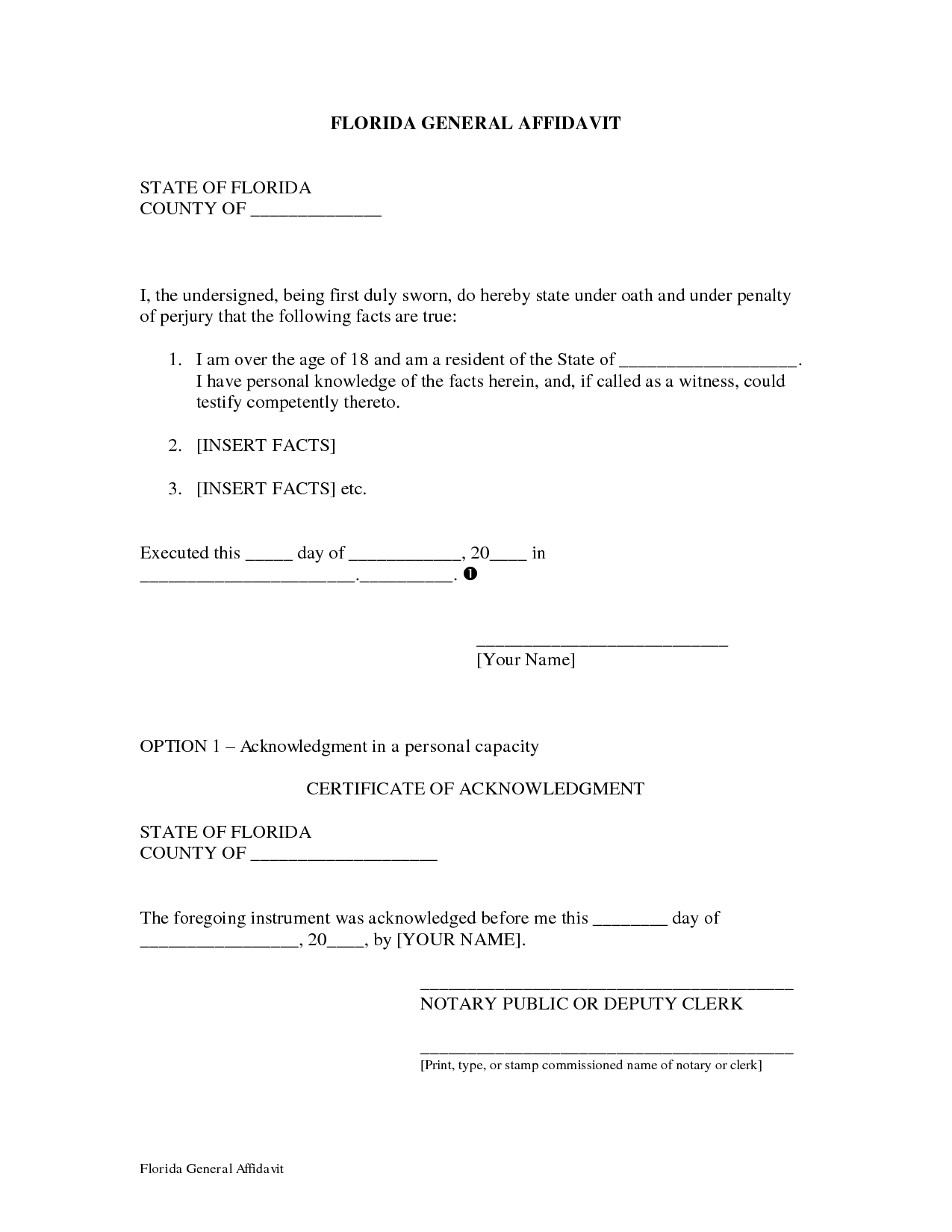 Affidavit Of Facts Template Delectable Best Photos Of Florida Notarized Letter Format Notary Statement .