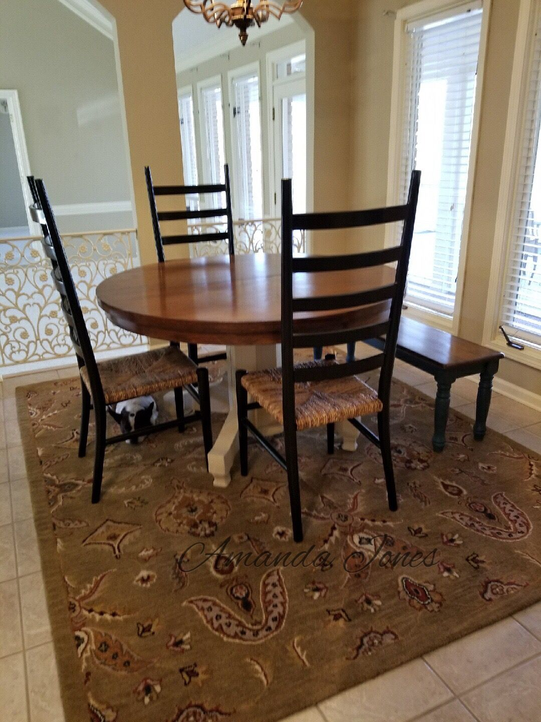 table top was refinished with antique walnut gel stain and