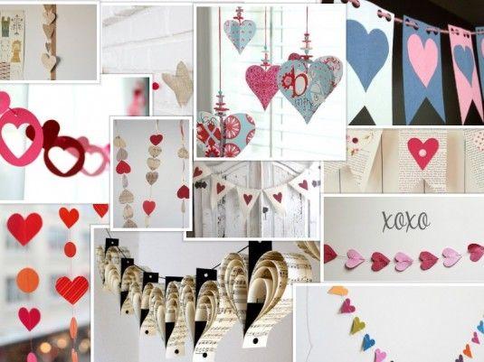 Fotografías y enlaces a diferentes páginas con guirnaldas de corazones para decorar en el día de los enamorados o fiesta de San Valentín.