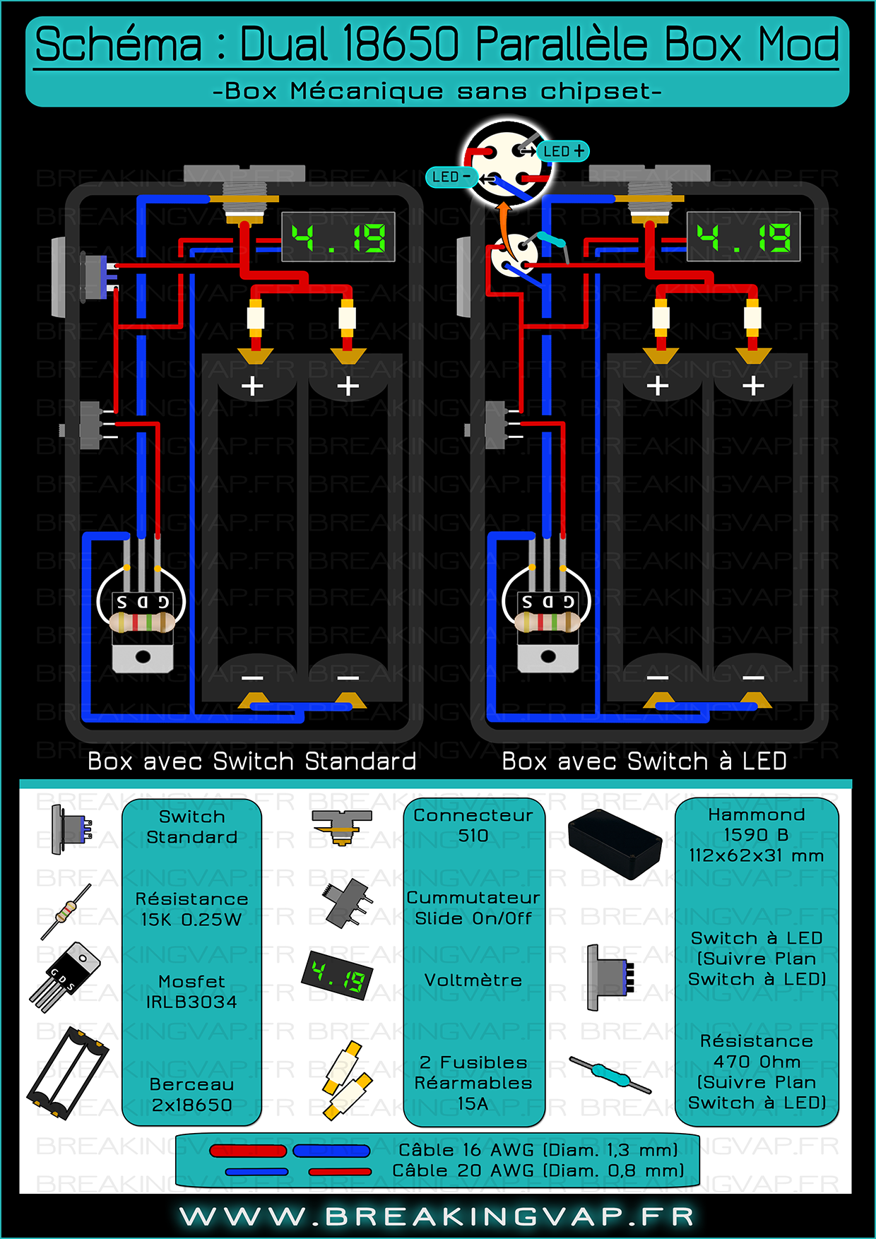 medium resolution of sch ma box mod dual 18650 parallele