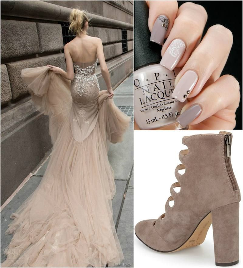 chaussure taupe avec robe noire