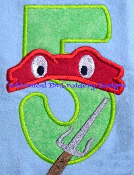 Teenage Mutant Ninja Turtle Numbers Machine Embroidery Applique