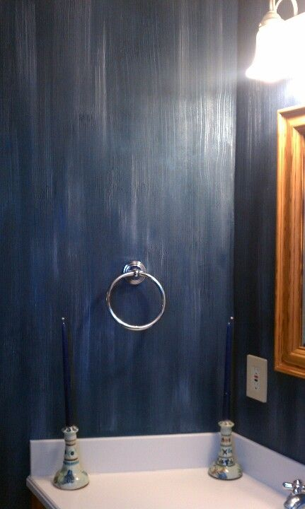 Groovy blue metallic plaster by m m bender designer wall finishes