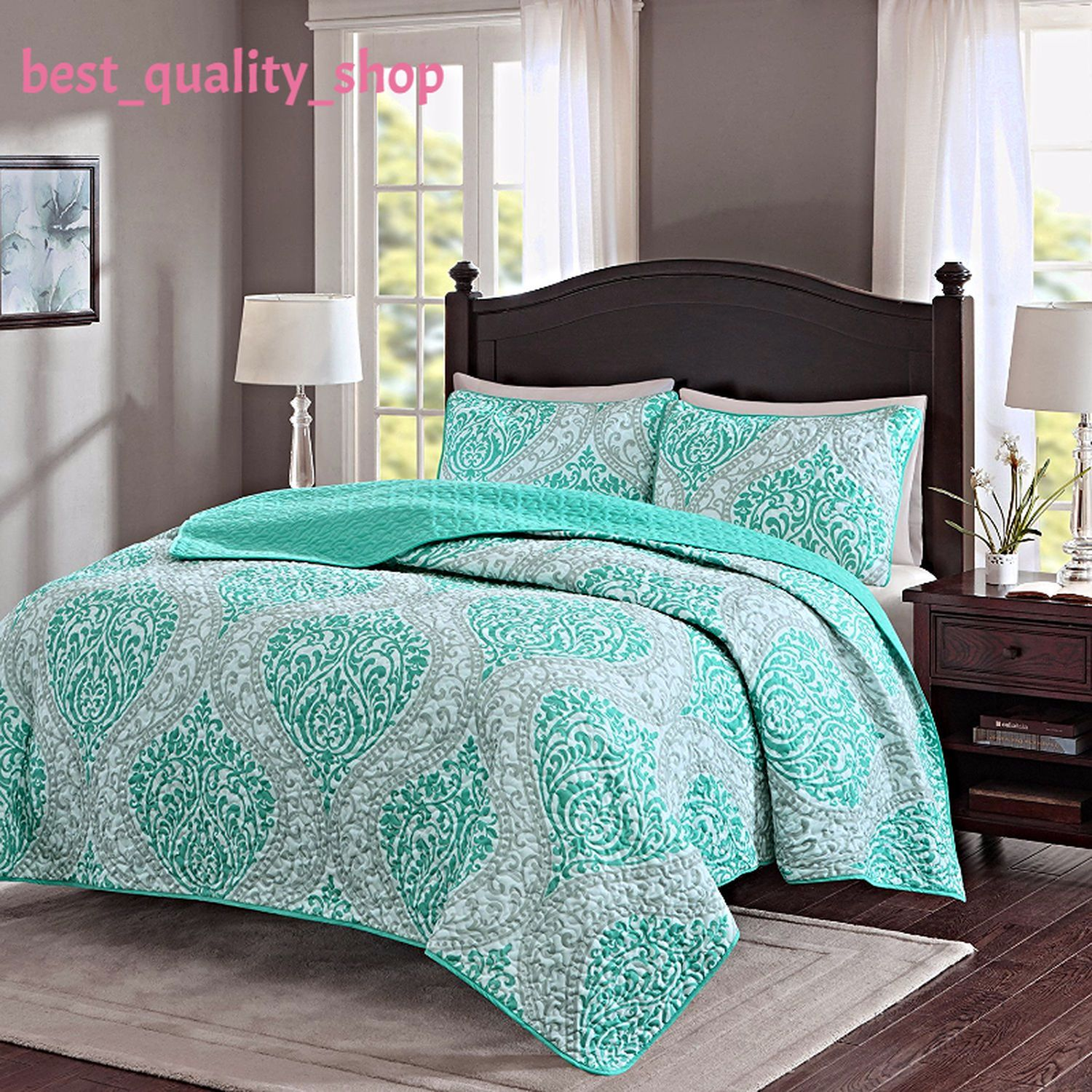 Teal And Grey Quilt Set Printed Damask Pattern Full X2f Queen Size 3 Piece Bedspread Features Teal And Gre Comforter Sets Bed Comforter Sets Teal Bedding