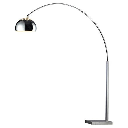 Arched Steel Floor Lamp With A Silver Marble Base And