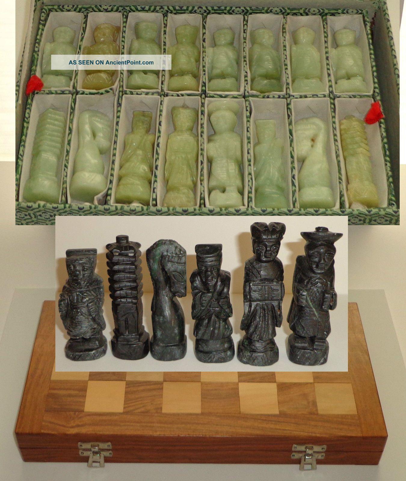 Vintage Korean Alabaster Serpentine Figural Chess Set Hand