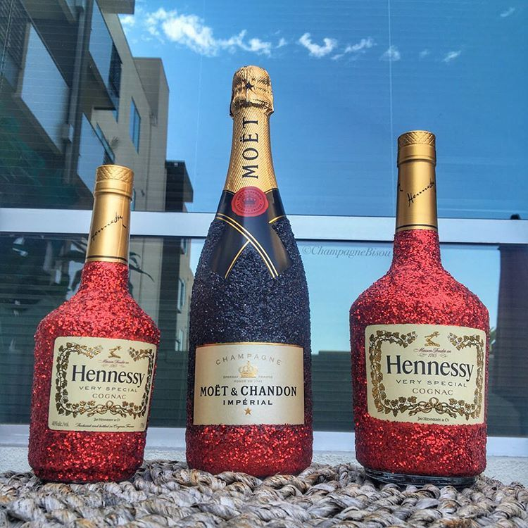 Decorated Hennessy Bottle Stunning Glamorous & Fabulous Champagne Art For Special Occasions 2018