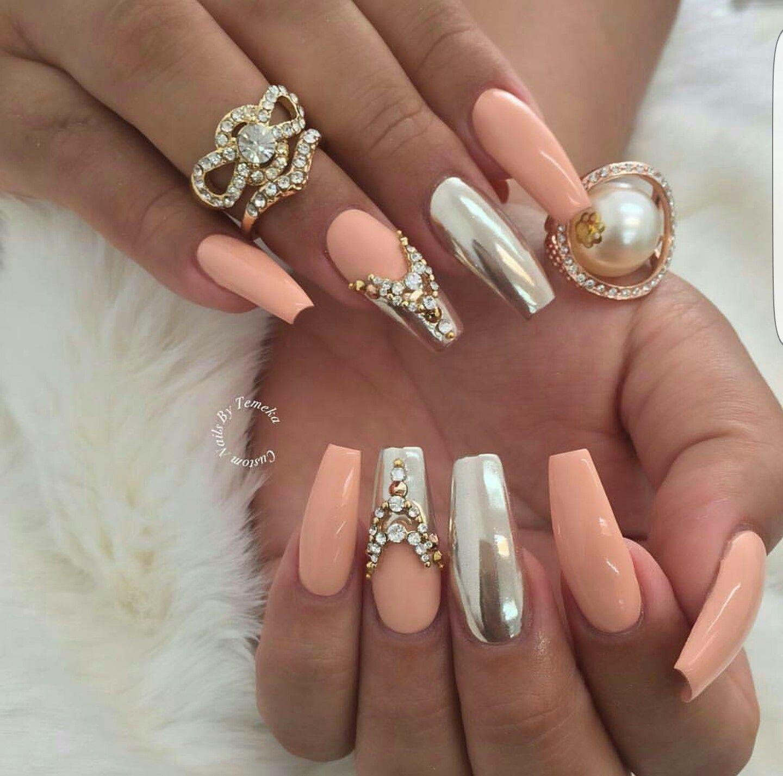 Pin By Julia Alberton On Rhinestones On Nails Prom Nails Mirror Nails Peach Nails
