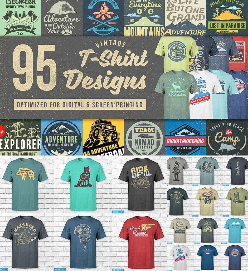 95 T Shirt Designs Mega Bundle Cgispread Typography Shirt Design Tshirt Designs Free Shirt Design