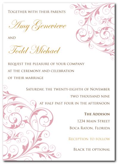 ladylike swirl invitation Cheap wedding invitations