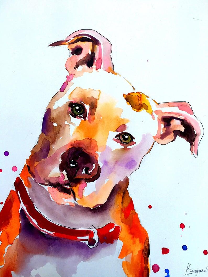Custom pet portrait Pet portrait painting DOG PORTRAIT