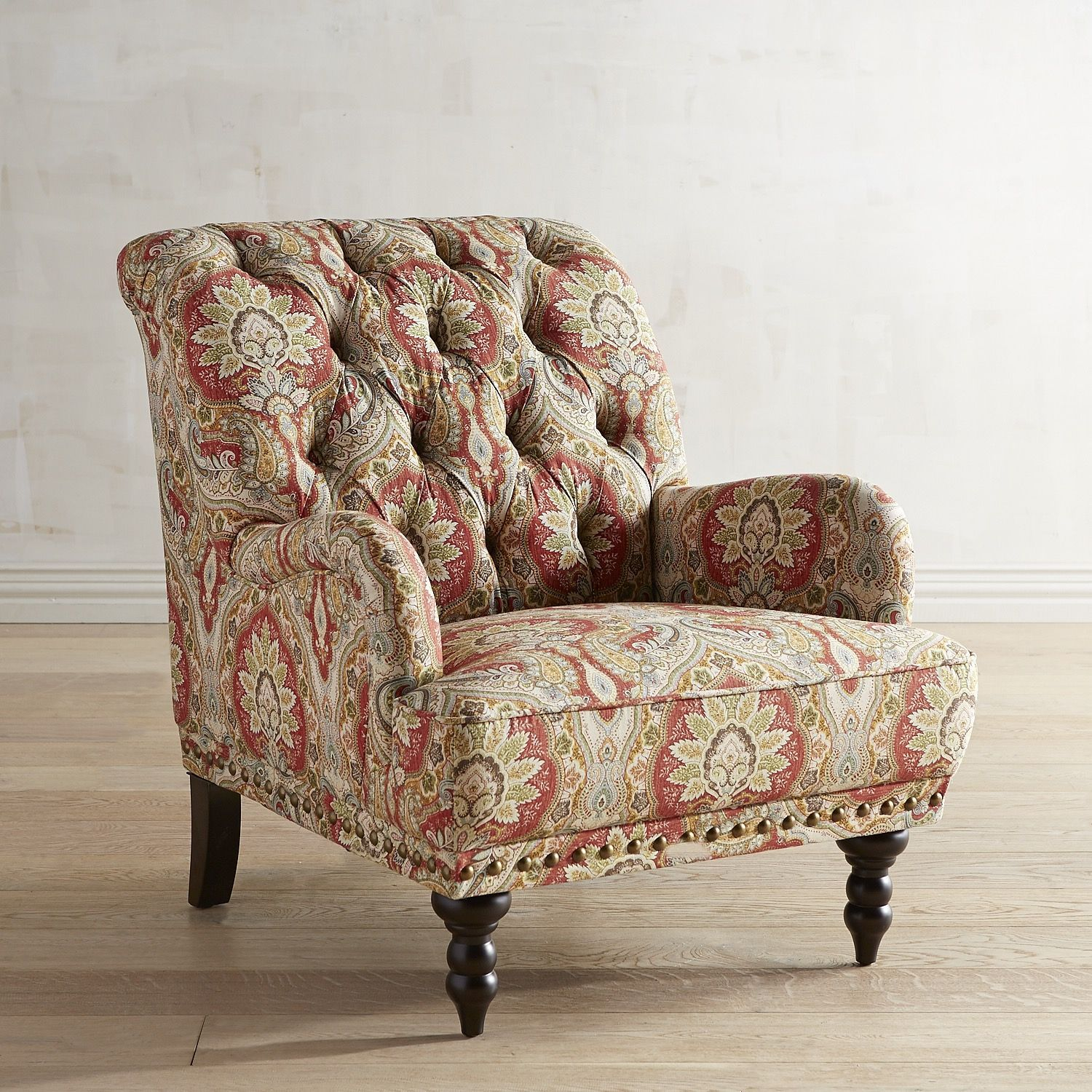 Chas Red Medallion Chair Armchair Chair Overstuffed Chairs