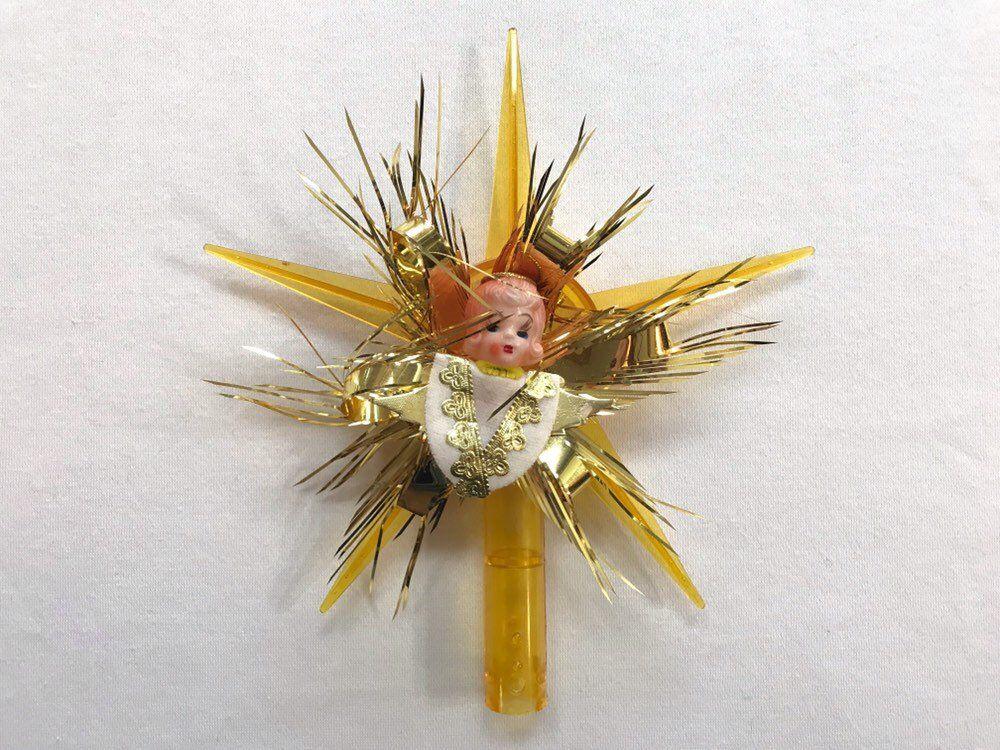 Vintage Angel Star Tree Topper Cute Golden Christmas Xmas