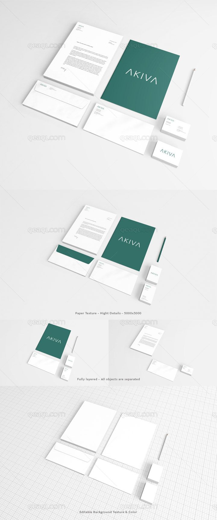 A stationery mock up with horizontal & vertical business card. Each ...