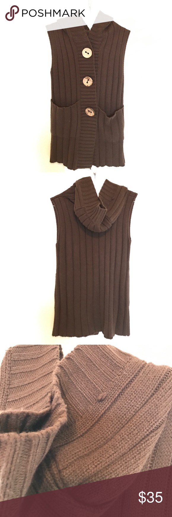 Vintage Knitted Sweater Vest | Vintage knitting, Dark brown and Hoods