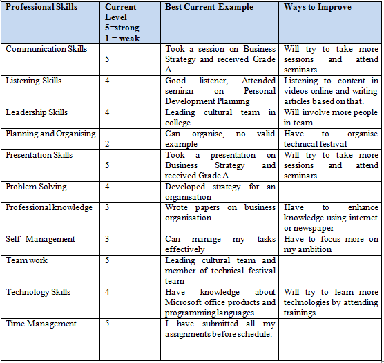 professional development assignment