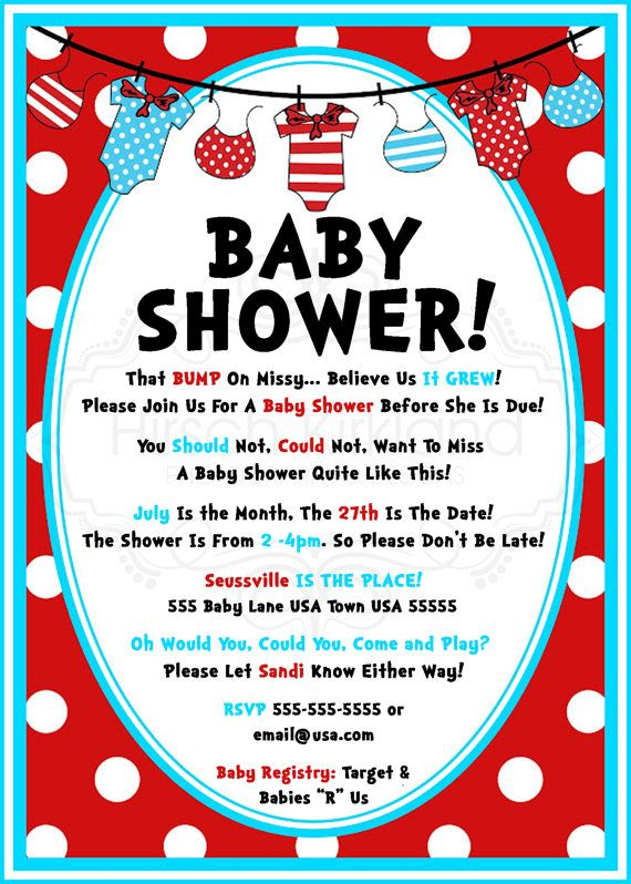 so cute! Dr Seuss Baby Shower Invitation by InvitesBySandi on - how to word a baby shower invitation