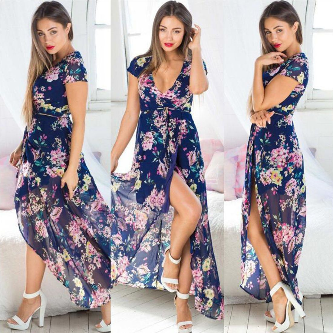 Womens short sleeve summer evening party prom beach long boho floral
