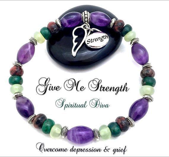 GIVE ME STRENGTH Grief Healing Reiki Stretch Bracelet