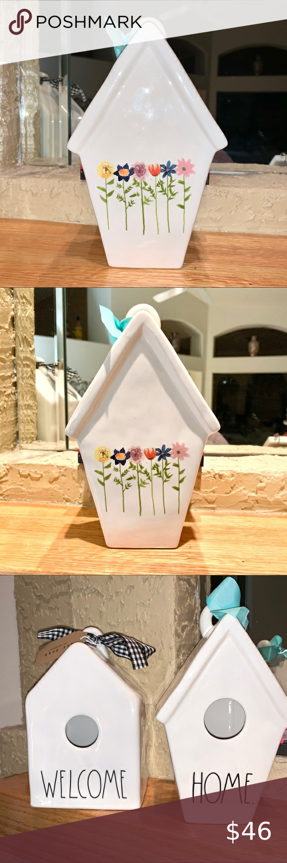 Photo of RAE DUNN SLANT ROOF BLOOM BIRDHOUSE I think this is called the Bloom pattern.  S…