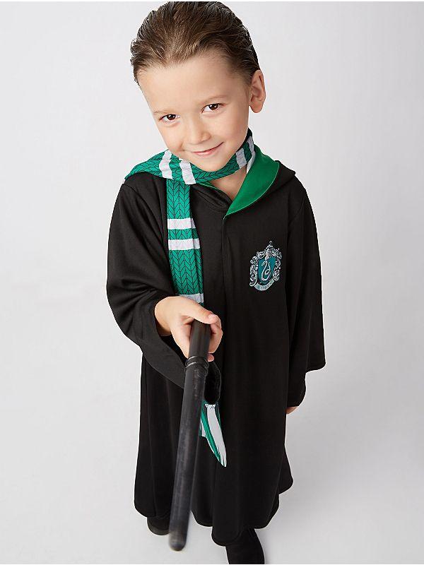 Boys Harry Potter Draco Malfoy Slytherin Robes Fancy Dress Costume ...