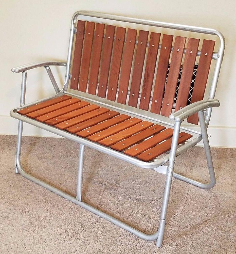 Vintage Redwood Slat Bench Aluminum Lawn Chair Folding