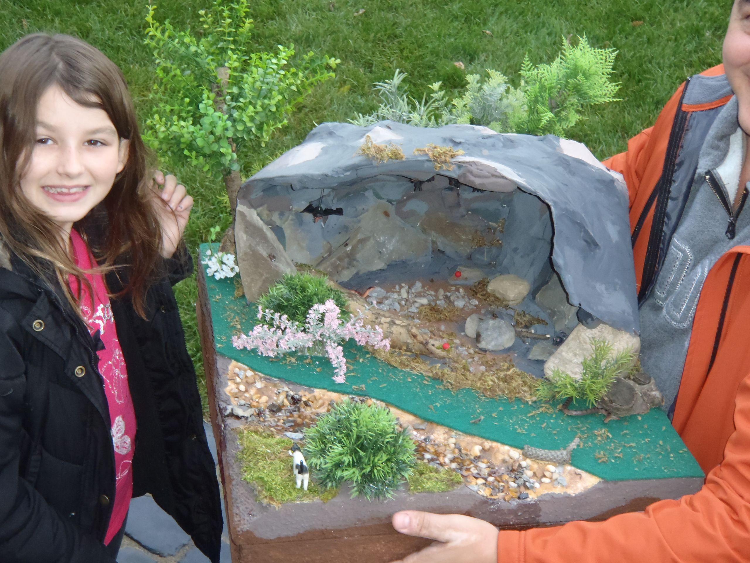 Bat Cave Diorama With A Creek