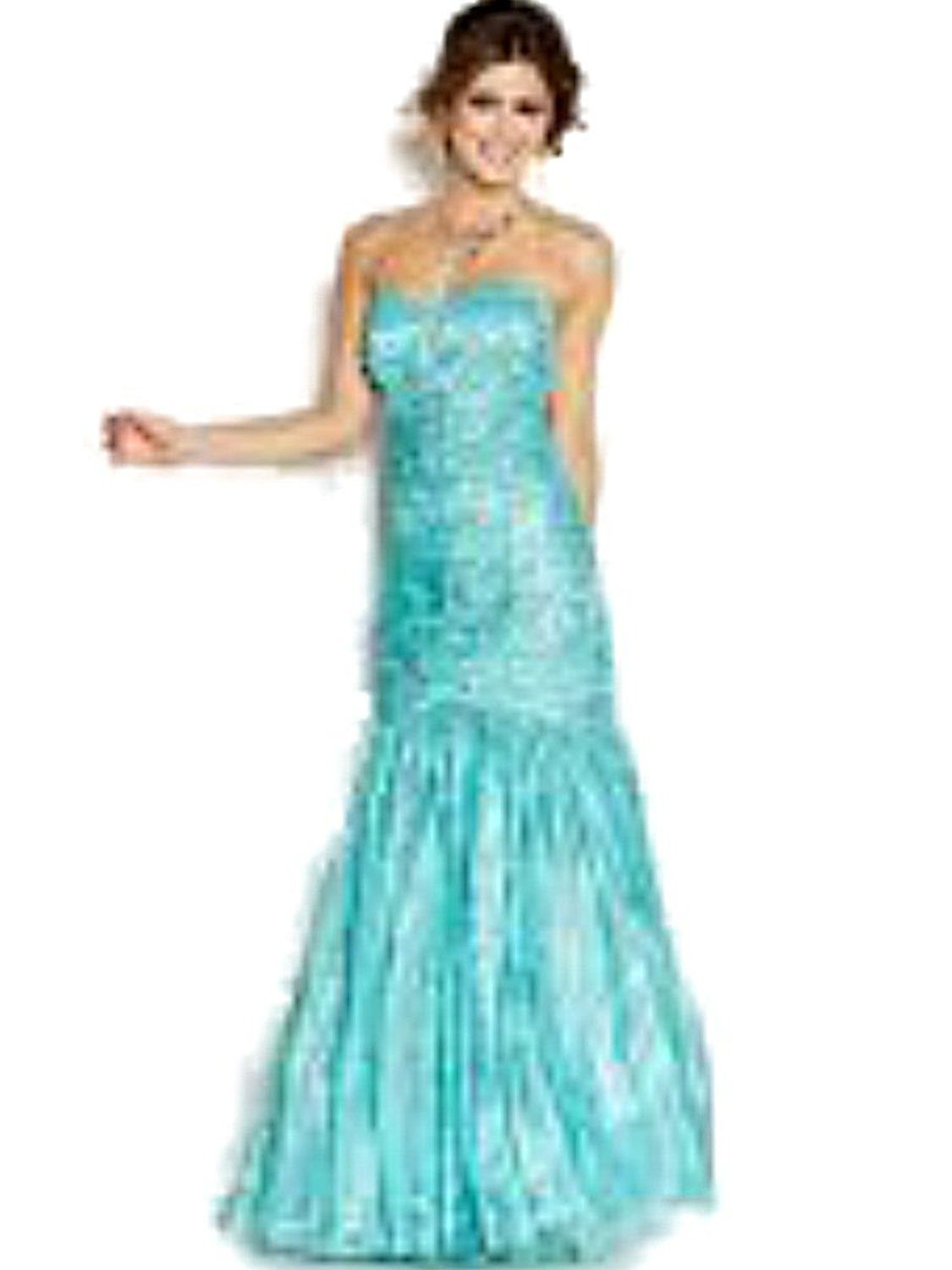 JUMP Aquamarine Satin Tule Strapless Ruched Embellished Mermaid Prom ...
