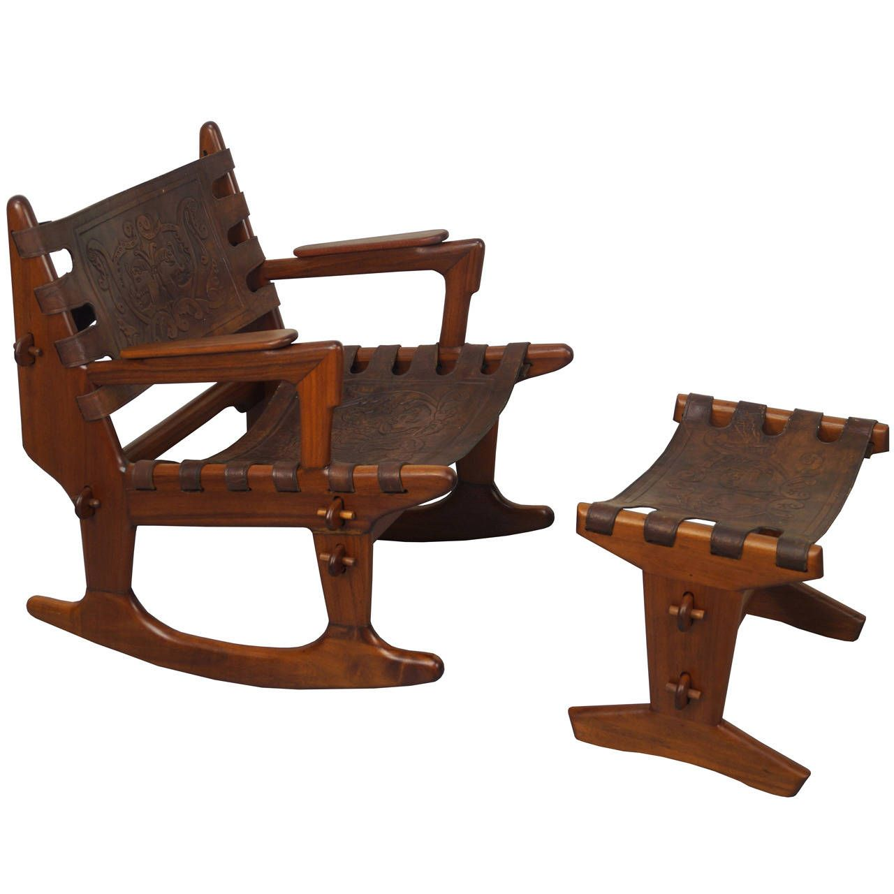 Vintage Rocking Chair and Ottoman by Angel Pazmino – Ottoman Rocking Chair