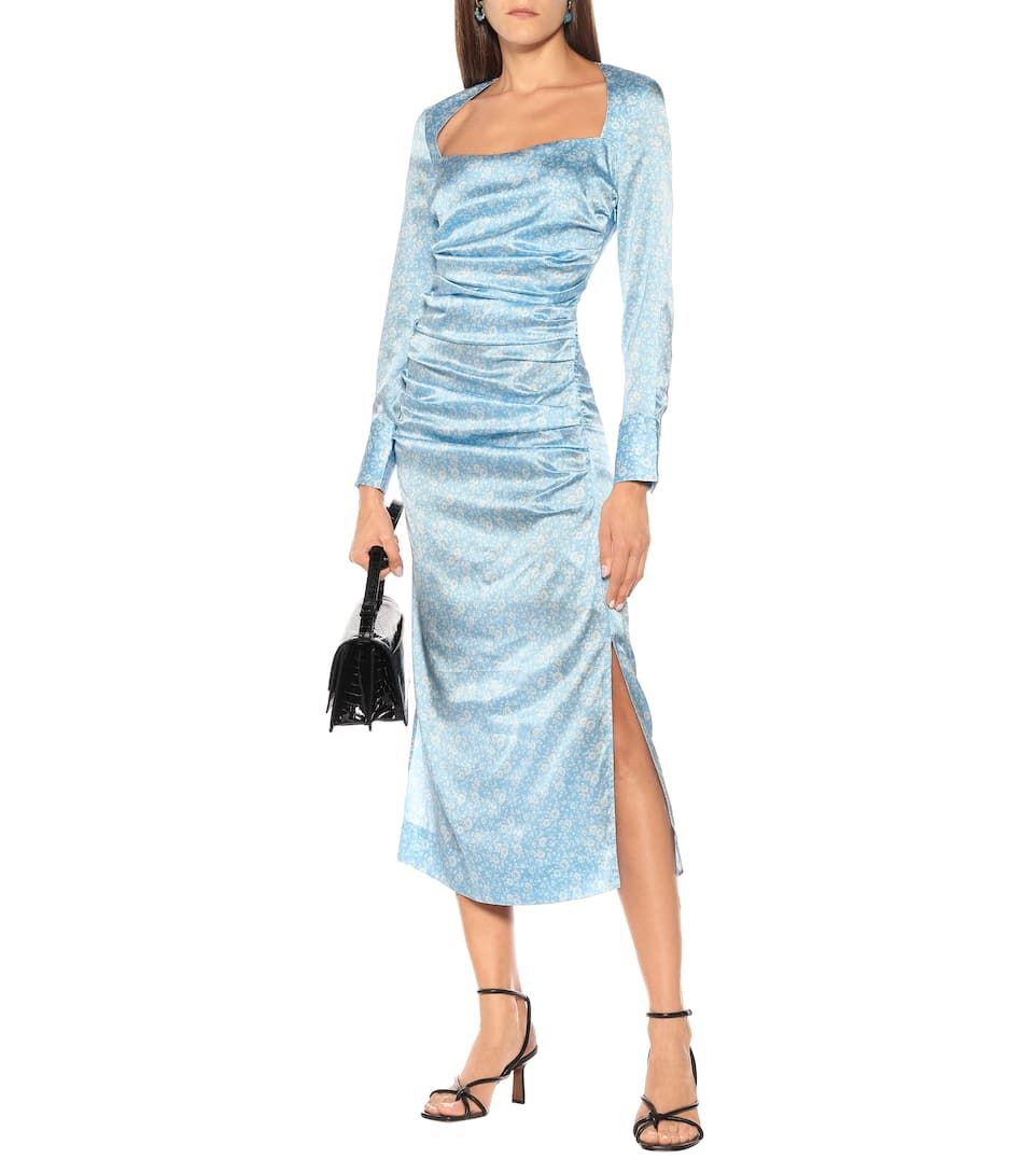 Floral Stretch Silk Satin Midi Dress Satin Midi Dress Stretch Satin Dress Dresses [ 1088 x 962 Pixel ]