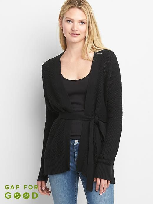dd14d36bc71a3 Gap Womens Textured Wrap Belt Cardigan Black   Products   Belted ...