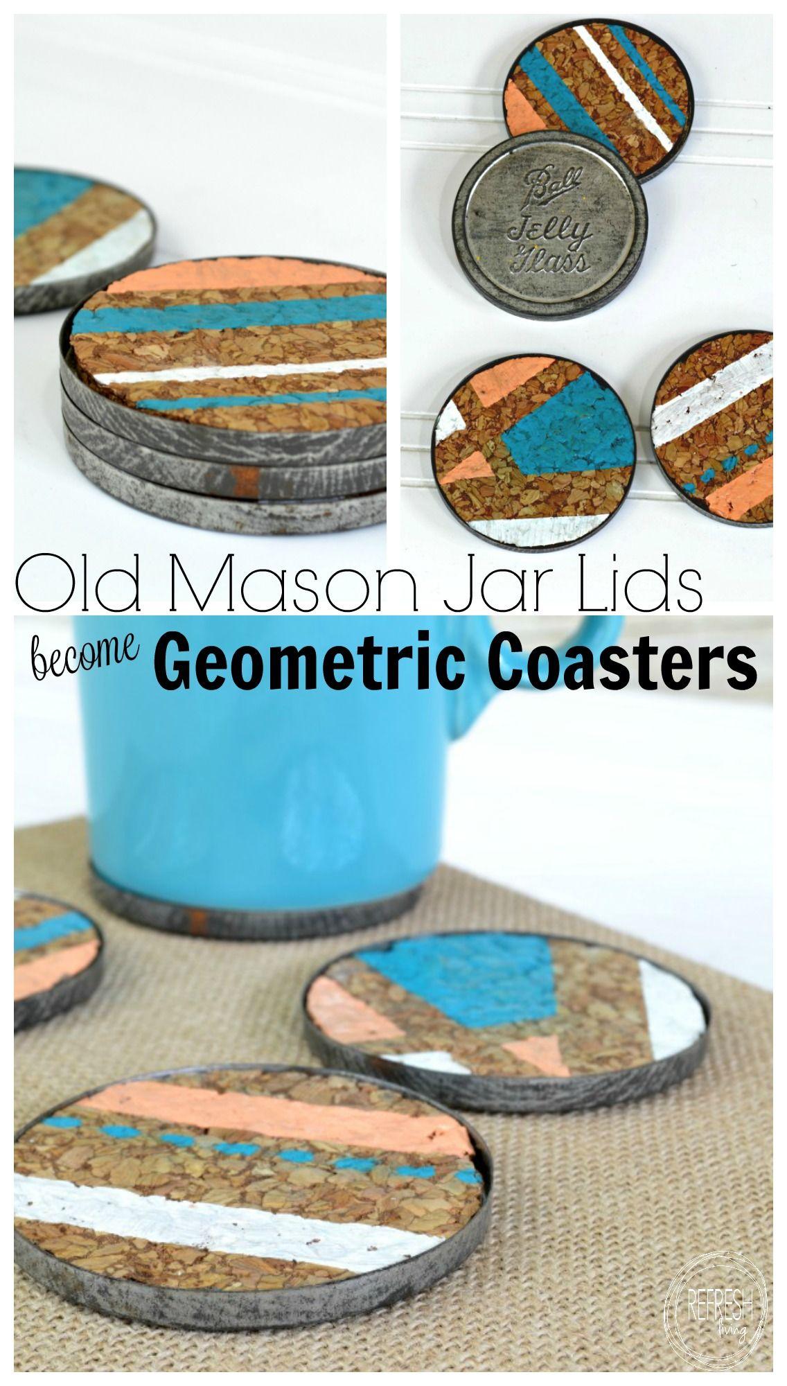 old mason jar lids become diy geometric coasters