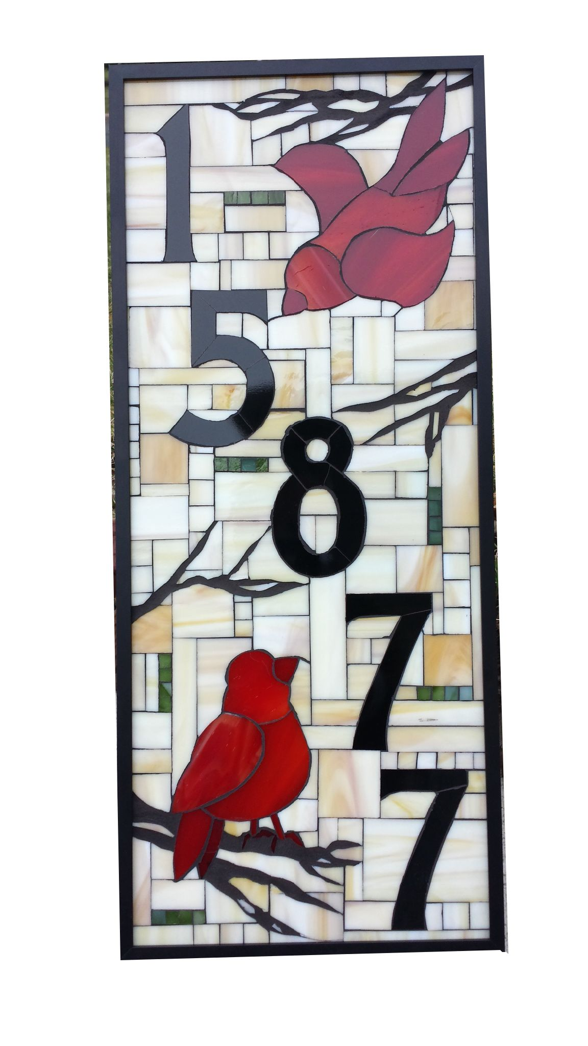 Custom Stained Glass House Number With Red Birds By Sequential Glass Art  Mosaic