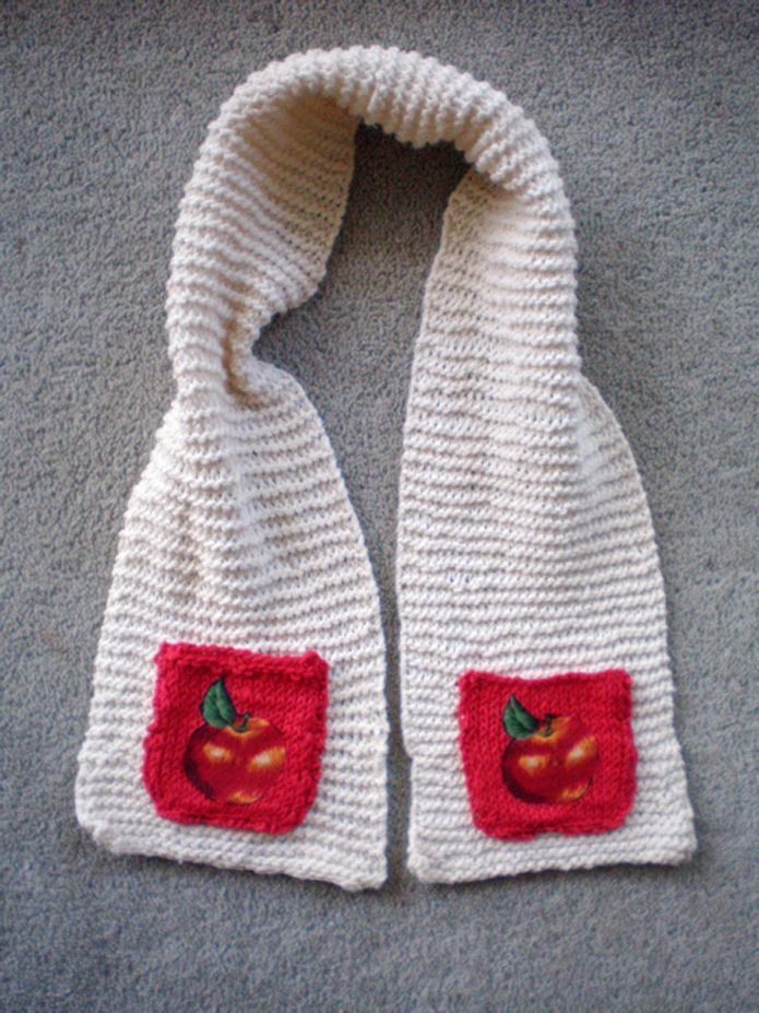 Knitting a Gift - Childrens Apple Pocket Scarf | Baby crafts ...