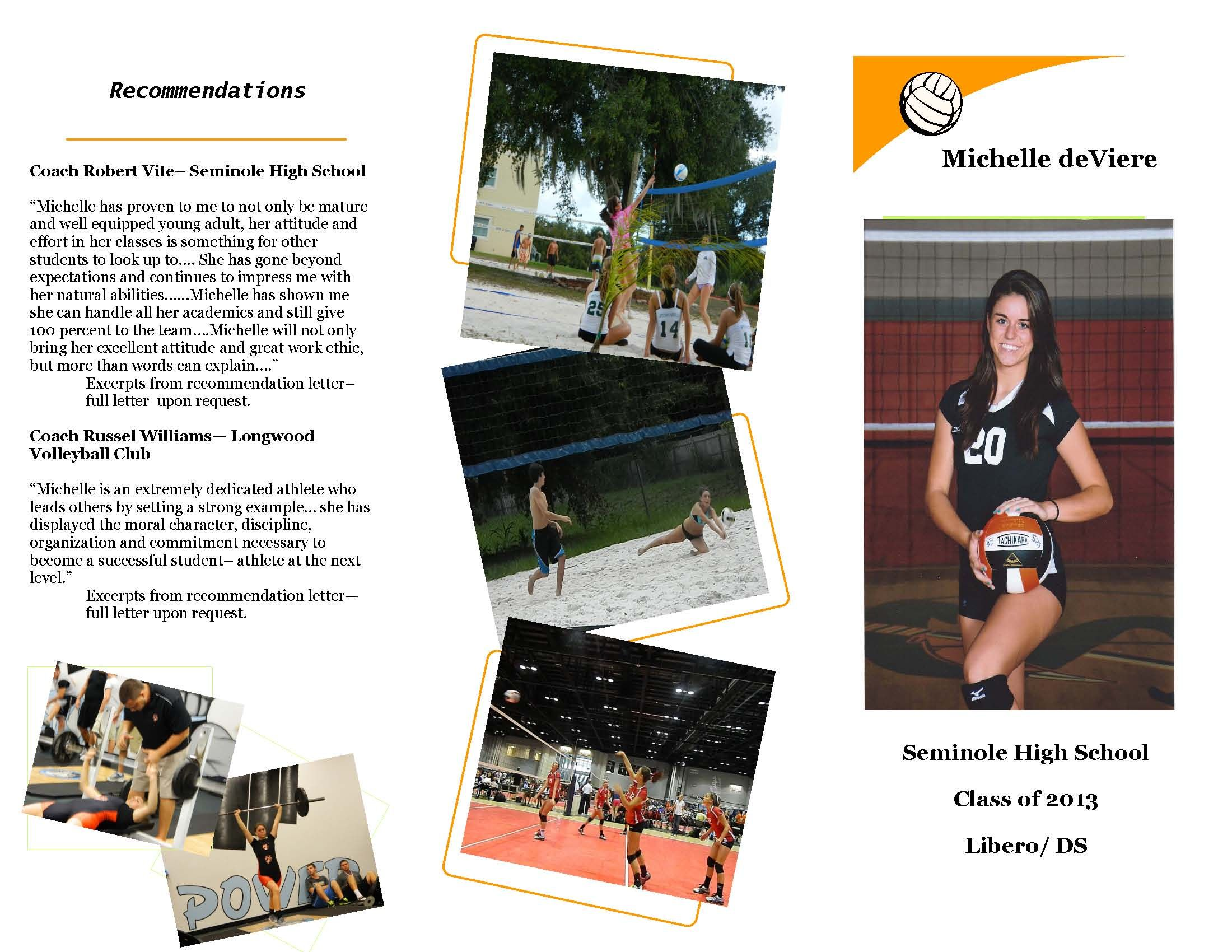 michelle deviere college recruiting brochure volleyball