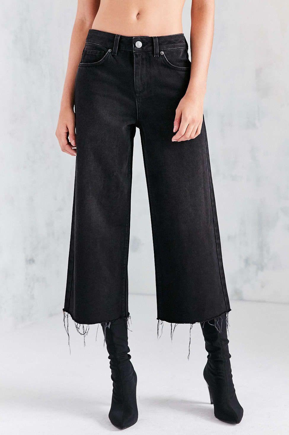 BDG Cropped Denim Culotte - Washed Black