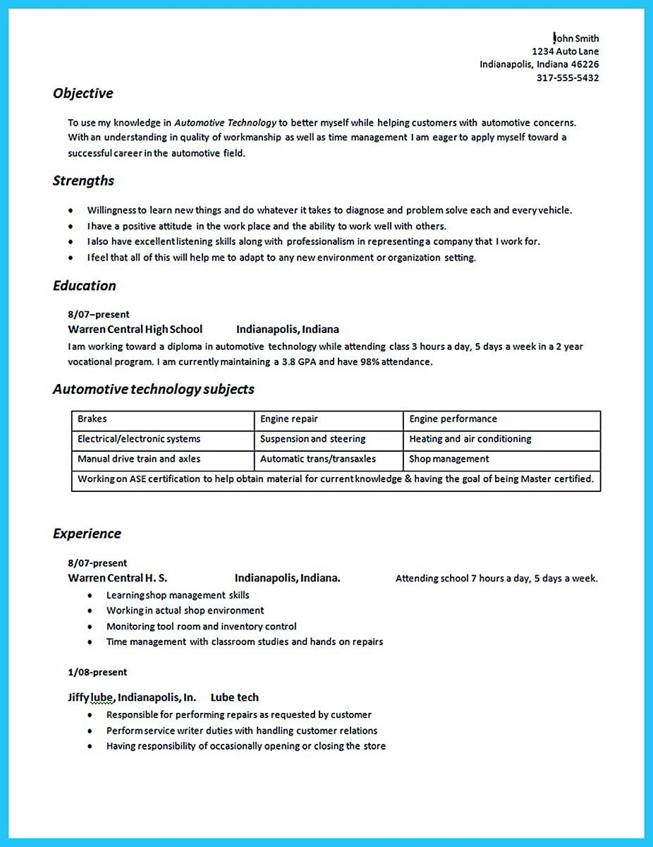 Nice Writing Your Great Automotive Technician Resume