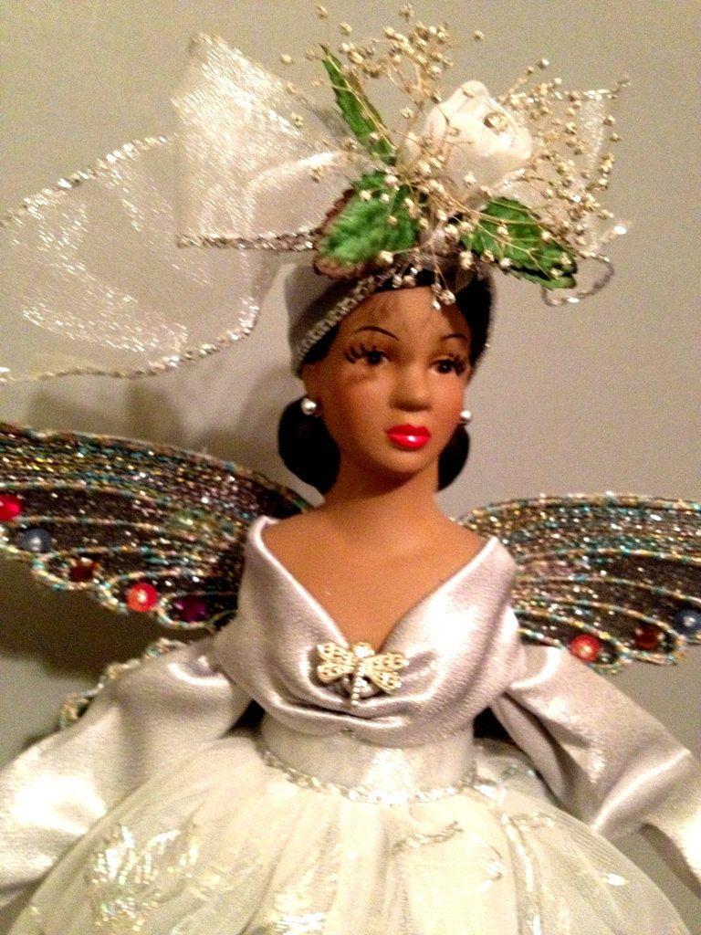 African+American+Christmas+Angel+Tree+topper+by+Divineangelshop,+$ ...